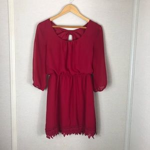 Trixxi red dress with a bow in the back!